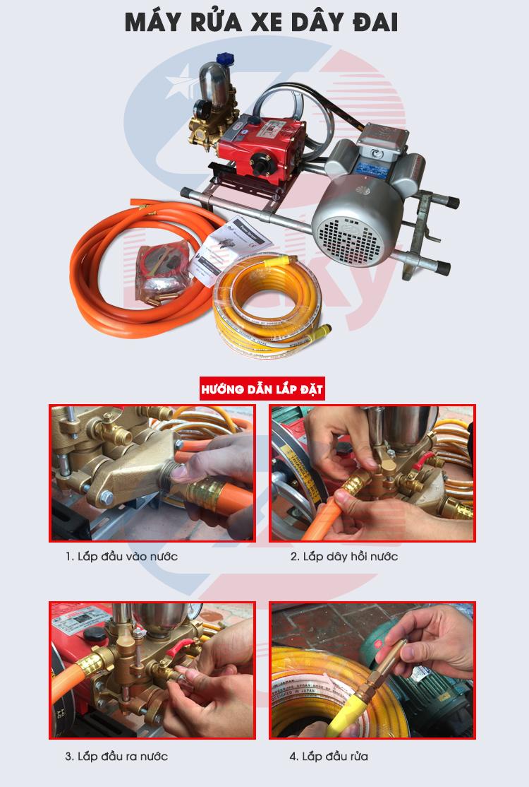 Hướng dẫn lắp đặt máy rửa xe dây đai