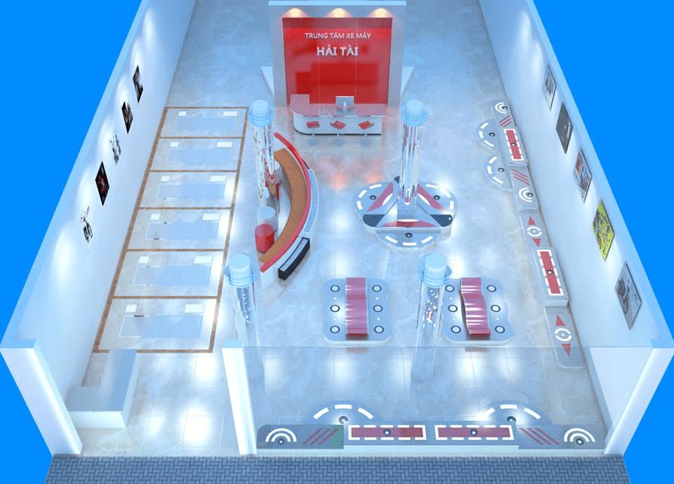 thiết kế tiệm rửa xe máy